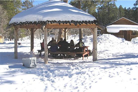 Mormon Lake Lodge and Campground: playing games outside in the snow