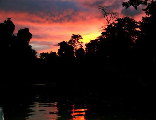 Sabah, Malaysia: sunset over the kinabatangan river