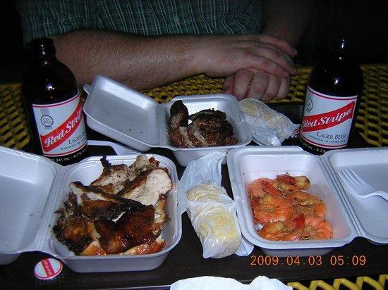 Pork Pit: Jerk pork, chicken and shrimp with corn on cob.
