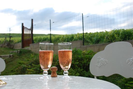 Au Coeur des Vignes: Champagne sur la terrasse.