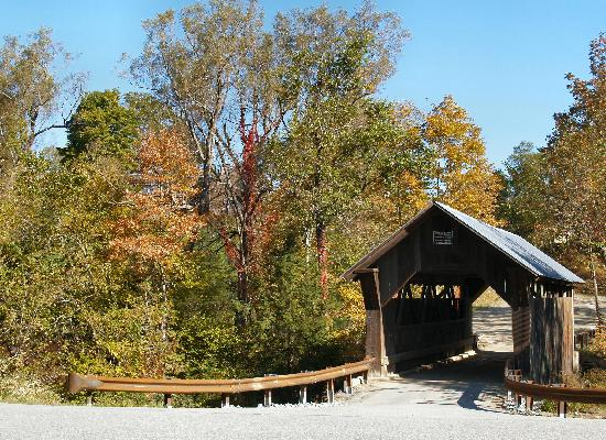 The covered bridge at Stowe Hollow