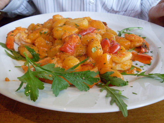 Posillipo: Gnocchi With butternut squash, king prawns in a brandy sauce