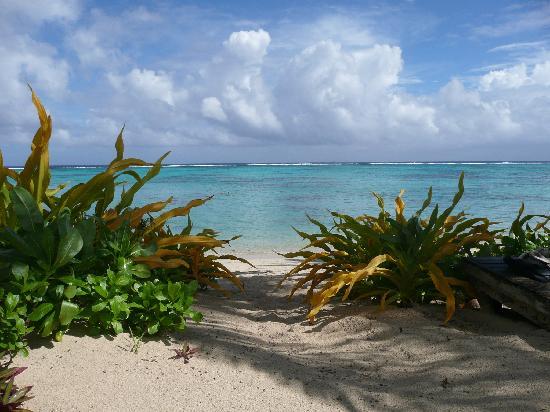 Rarotonga Beach Bungalows: beach in front of bungalows