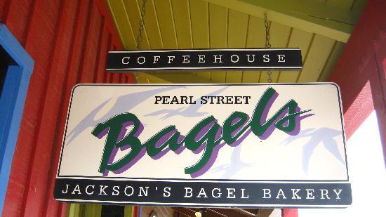Pearl Street Bagels: Pearl Street - Jackson sign