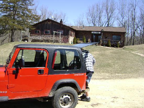 Percheron Paradise Romantic Hideaway: Hubby packing jeep at the office