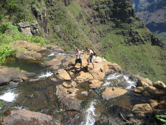 Plantation at Princeville: fighting on top of a water fall :)