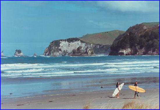 Palm Pacific Resort Whangamata: Local beach (its not me on the Surfboard!!)
