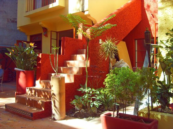 The Red Tree House: The stunning colourful decor of the internal courtyard.