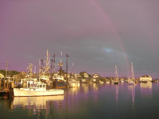 Menemsha Harbor with a Double Rainbow