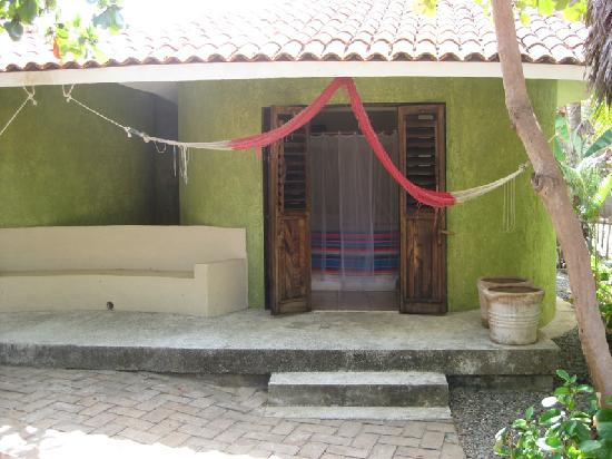 Quinta D'Liz: outside our bungalow with tied up hammock
