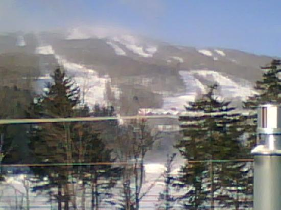 Inn at Mount Snow: Taken from my room window on cell phone.  The large blurry building in the picture is the Summit
