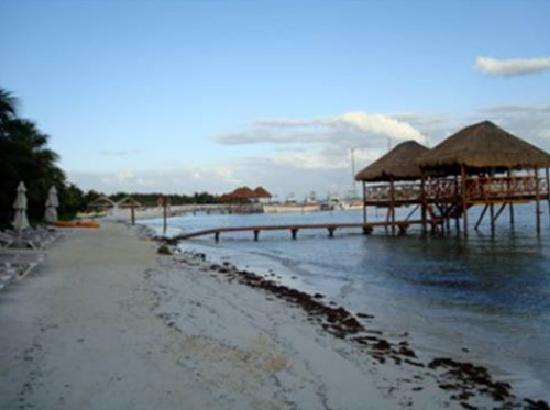 El Dorado Maroma, by Karisma: Small section of the beach. Overwater buildings are massage areas.