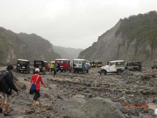 Mount Pinatubo: 4X4's waiting for our return