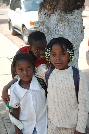 Huambo, Angola: Studens on Rua Teixeira da Silva pose before class