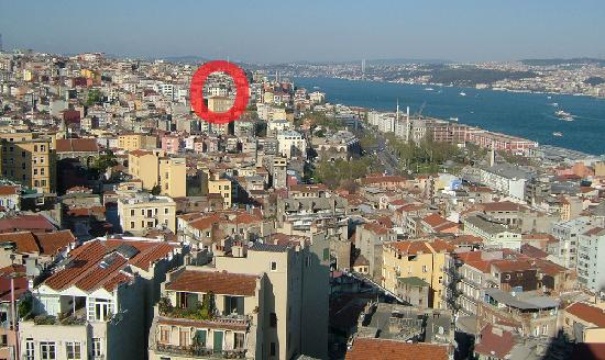 Witt Istanbul Suites: view of Witt from Galata tower