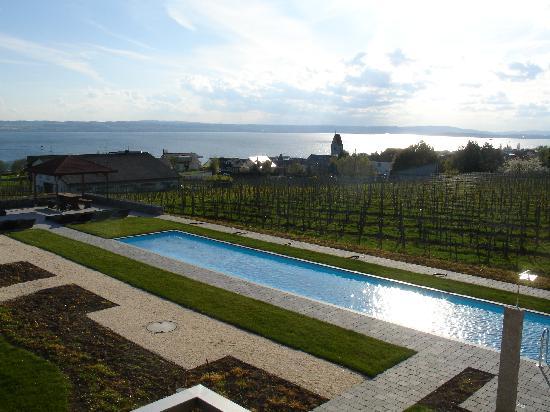 Burgunderhof Hagnau: Blick über den Pool, Hagnau und den Bodensee
