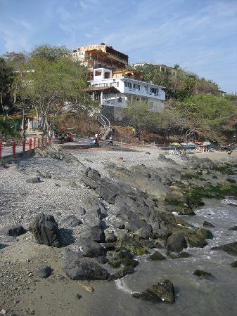 Casa Adriana: view from the sea path, hotel the top of hill