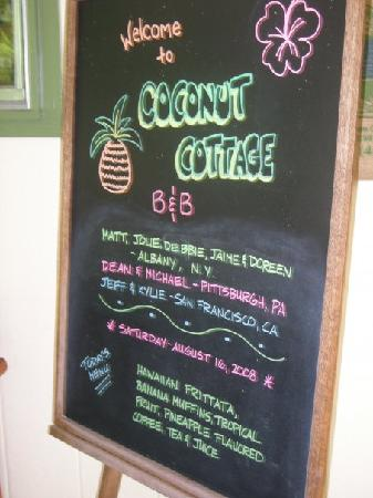 Coconut Cottage Bed & Breakfast: The breakfast menu!