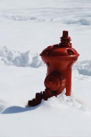 ‪‪Bozeman's Lehrkind Mansion Bed and Breakfast‬: Fire Hydrant in Bozeman in late April‬