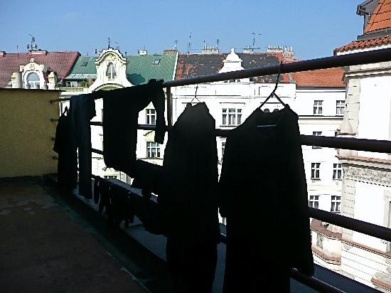 Prague Lion: Laundry on our balcony