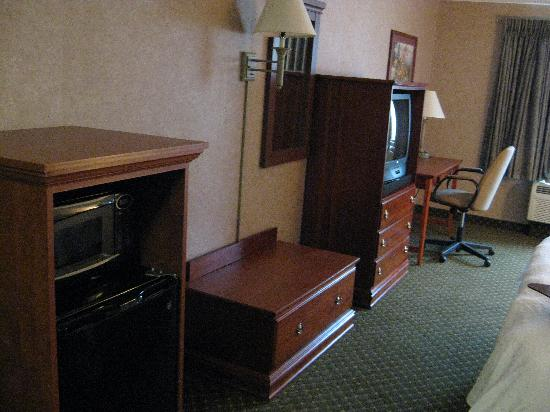 Hampton Inn Detroit/Belleville-Airport Area: Our room with microwave & small fridge