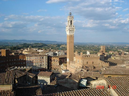 View of the Torre del Mangia of the Palazzo Pubblico in the Campo of Siena