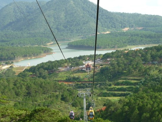 Thien Vien Truc Lam: View from the cable car down to Truc Lam, Dalat, Vietnam
