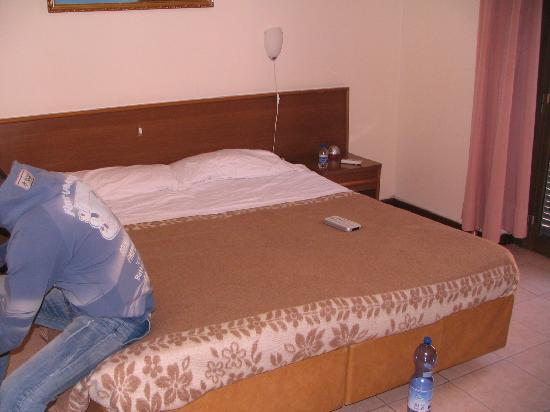 Hotel Adler: The bed (separates twin beds made like a king one)