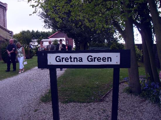 The Gables Hotel: Gretna Green sign outside the Anvil Hall