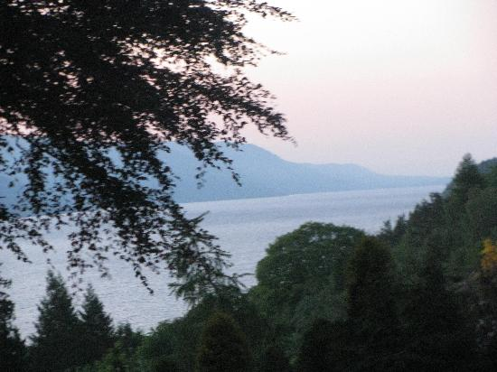 Foyers Bay Country House: view from bedroom window, twilight over Loch Ness