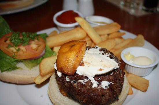 Old Harbor Brewery : Angus beef burger with cream cheese and sweet plantains, very good!