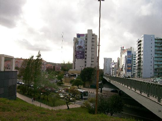 Novotel Lisboa: View of hotel & path to metro below