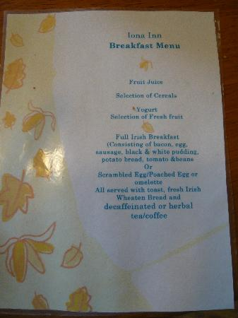 Iona Inn: Breakfast