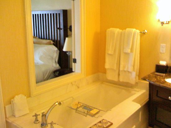 Hotel del Coronado: The large bathtub, with a view to the ocean.