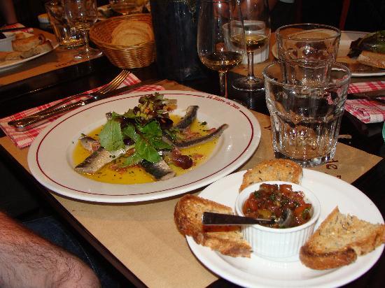 Le Bistro de Jean : sardines fraîches marinées + concassées de tomaes