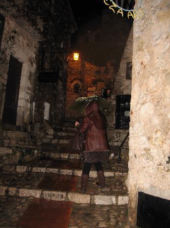 Chateau Eza : 雨の中の小路