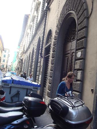 REALLY skinny sidewalks in Florence. This is the doorway into Soggiorno Alessandra