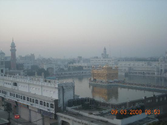 View of the Golden Temple from the rooftop of Hotel Sapphire