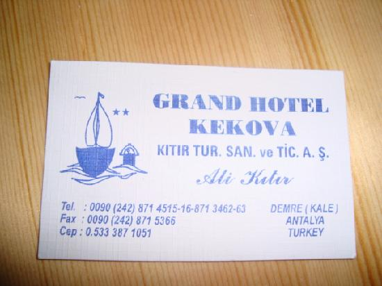 Grand Hotel Kekova: la carte de visite de l'hôtel pour mieux l'éviter!