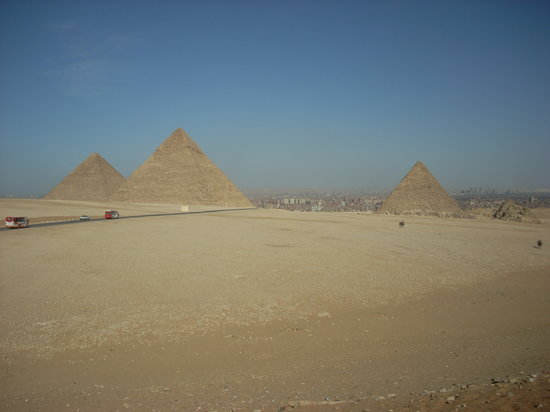 Gizeh Plateau: The three major pyramids from the bluff above where most of the camel drivers operate.