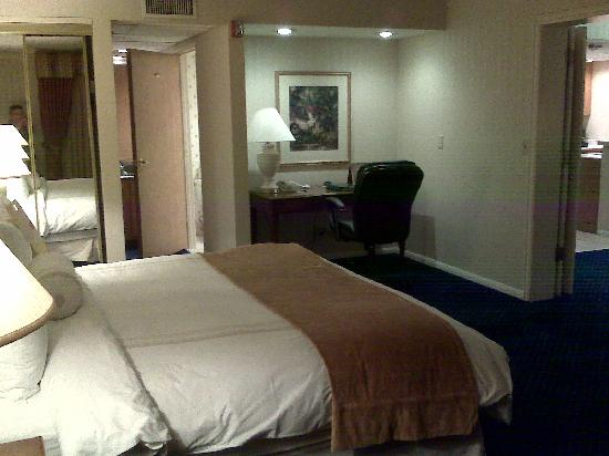 Radisson Ontario Airport: Bed, work desk, and path to the bathroom area