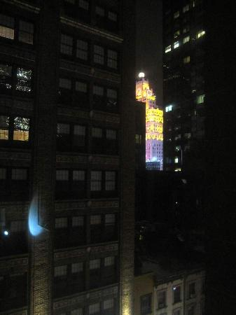 Broadway at Times Square Hotel: Right window night view Rm.802