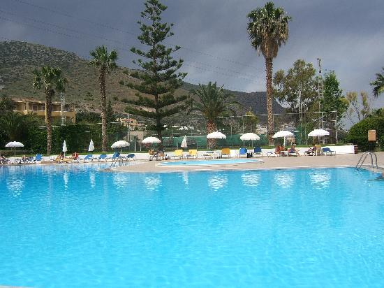 King Minos Palace Hotel: Childrens pool with azure wing mapie nest in the tree