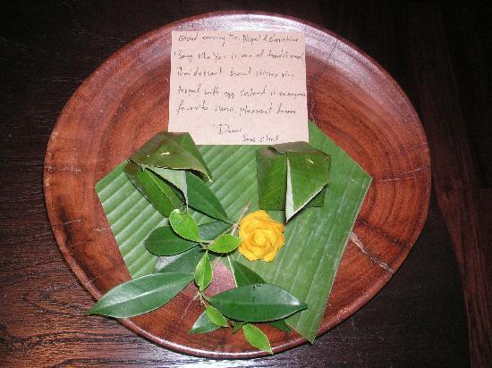 Anantara Rasananda Koh Phangan Villas: Special treats with a note left in our room every night