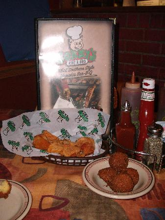 Corky's BBQ: Hush Puppies and Potato Chips