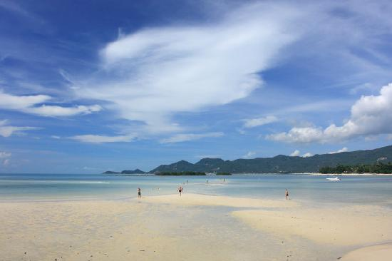 Chaweng, Thailand: Sandy beach stretches far out during low tide