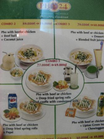 Pho 24: set menu (not sure if they have it all the time)