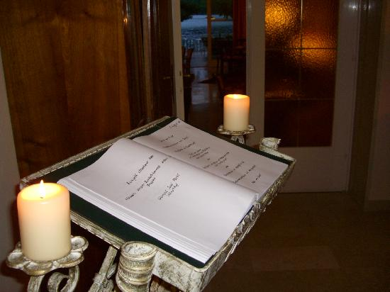 "Hotel am See - Die Forelle: Dinner menu at ""Die Forelle"""