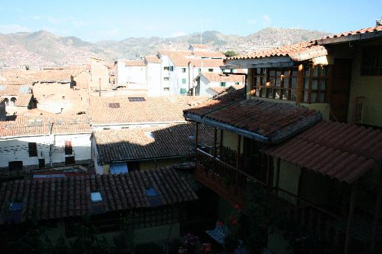 Amaru Hostal : the view from our room across the courtyard and towards Cusco