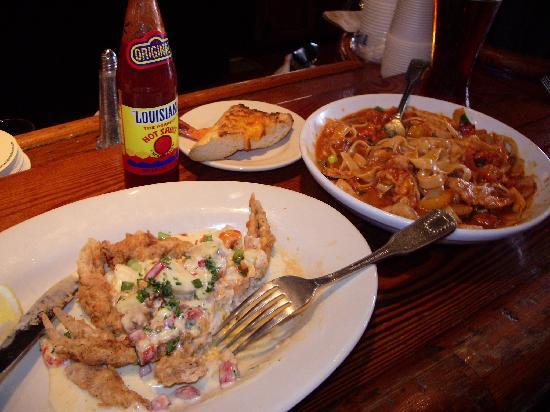 Crescent City Brewhouse: Softshell crab capri & Pasta Jambalaya
